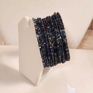 Boho Style Wide Beaded Cuff Bracelet